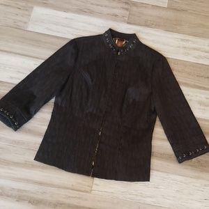 Multiples Lace Up Crinkled Zip Up Blazer